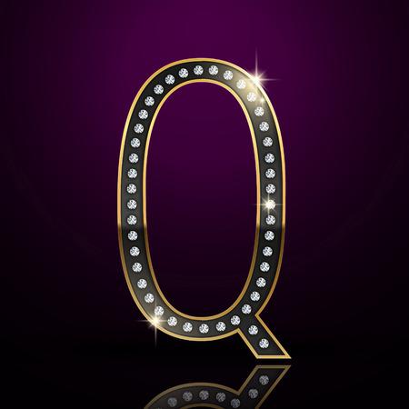 letter q: 3d elegant diamond letter Q isolated on purple background