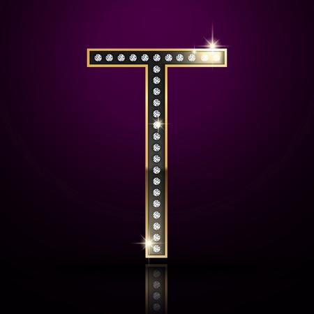 t background: 3d elegant diamond letter T isolated on purple background