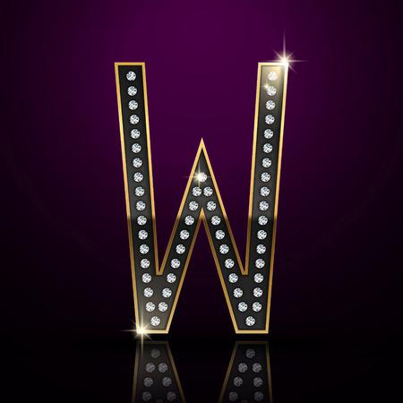 diamond letter: 3d elegante lettera diamante W isolato su sfondo viola Vettoriali