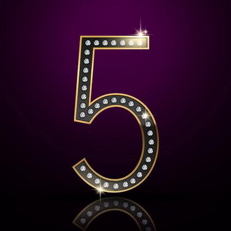 3d elegant diamond number 5 isolated on purple background