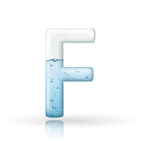 letter f: 3d clean water letter F isolated on white background