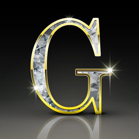diamond letter: 3d splendida lettera diamante G isolato su sfondo nero Vettoriali