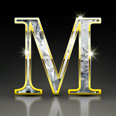 diamond letter: 3d gorgeous diamond letter M isolated on black background
