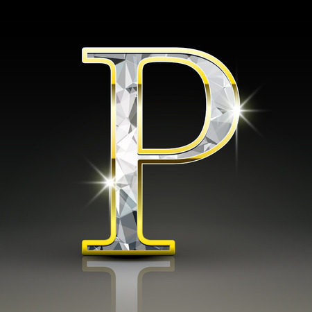 letter p: 3d gorgeous diamond letter P isolated on black background