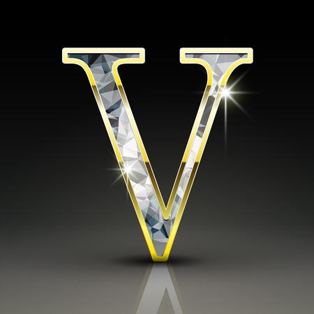 v alphabet: 3d gorgeous diamond letter V isolated on black background