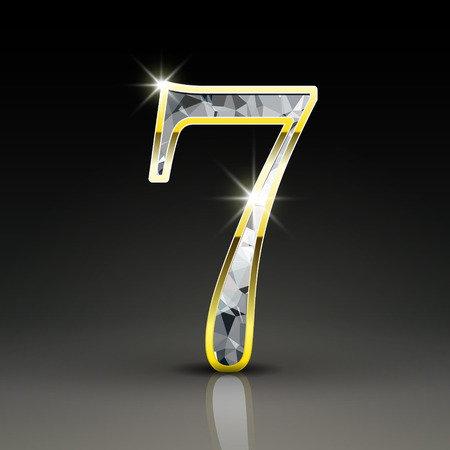 number 7: 3d gorgeous diamond number 7 isolated on black background