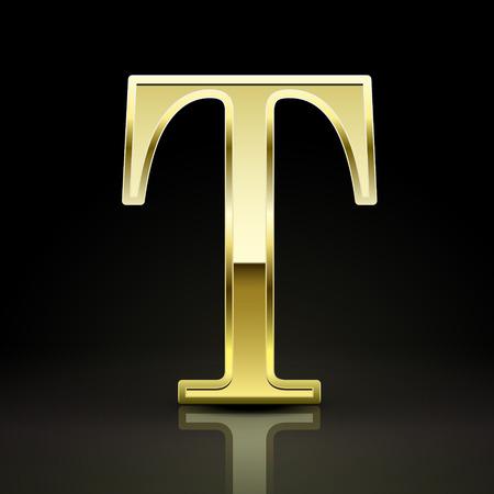 t background: 3d elegant golden letter T isolated on black background