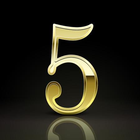 number 5: 3d elegant golden number 5 isolated on black background Illustration