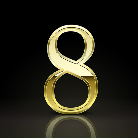 number 8: 3d elegant golden number 8 isolated on black background