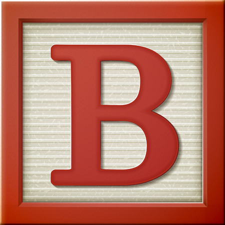 close up look at 3d red letter block B