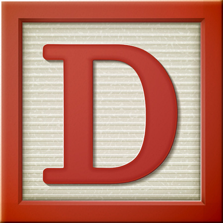 close up look at 3d red letter block D