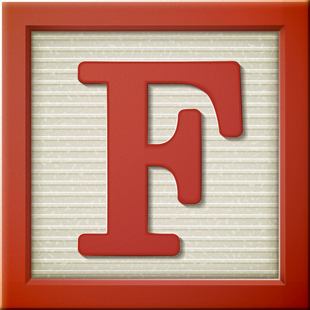 close up look at 3d red letter block F Vectores