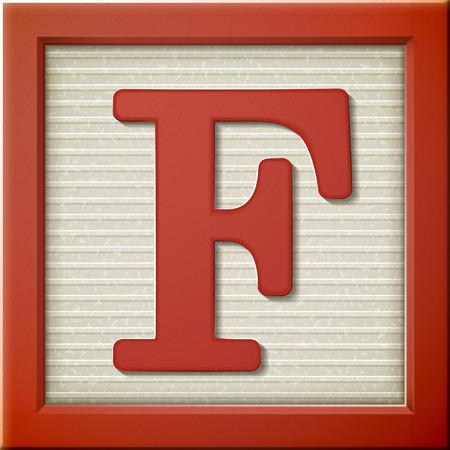 Vicino un'occhiata a 3d lettera rosso blocco F Archivio Fotografico - 38526331