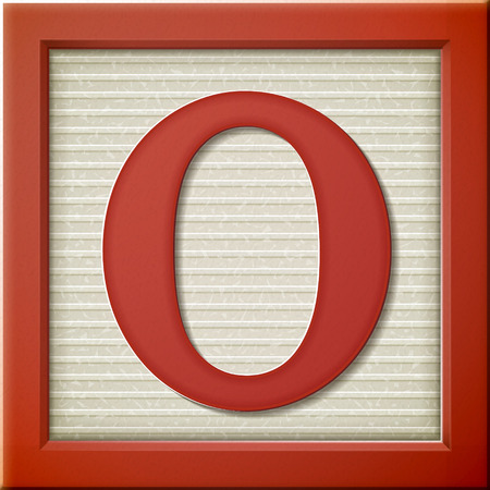 close up look at 3d red letter block O