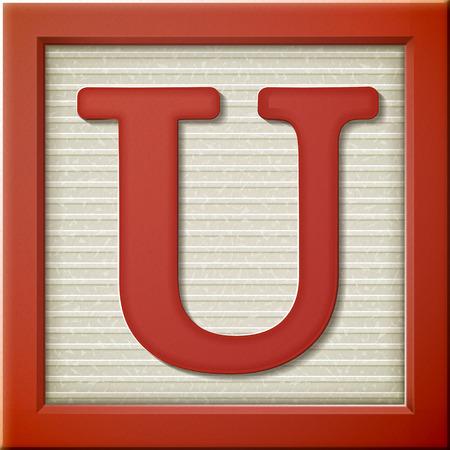 letter u: close up look at 3d red letter block U