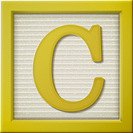 close up look at 3d yellow letter block C