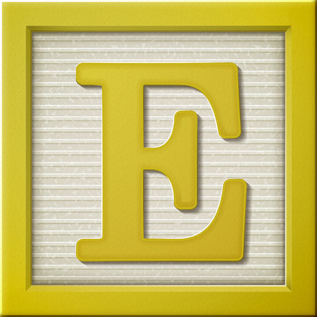 game block: close up look at 3d yellow letter block E