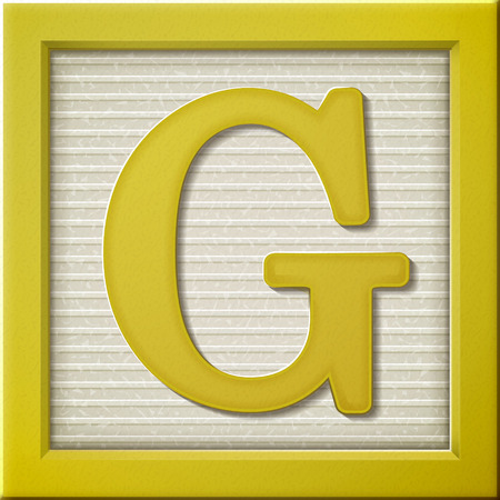yellow block: close up look at 3d yellow letter block G Illustration