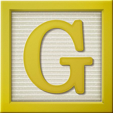 Sluit omhoog kijken naar 3D-gele letter blok G