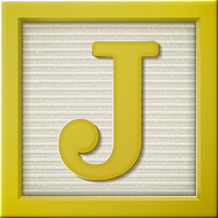 wood blocks: close up look at 3d yellow letter block J Illustration