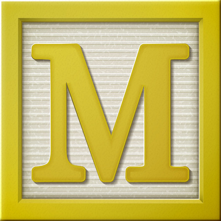 close up look at 3d yellow letter block M Vectores