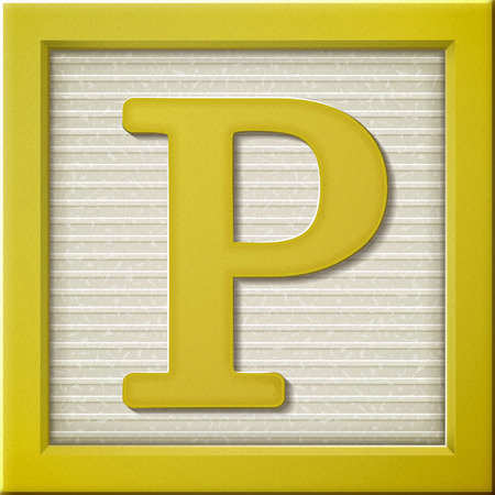 close up look at 3d yellow letter block P Vector
