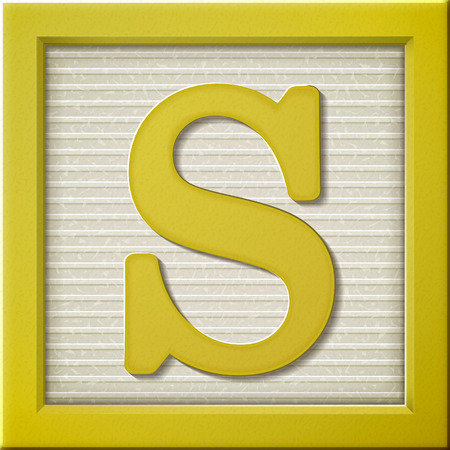 yellow block: close up look at 3d yellow letter block S