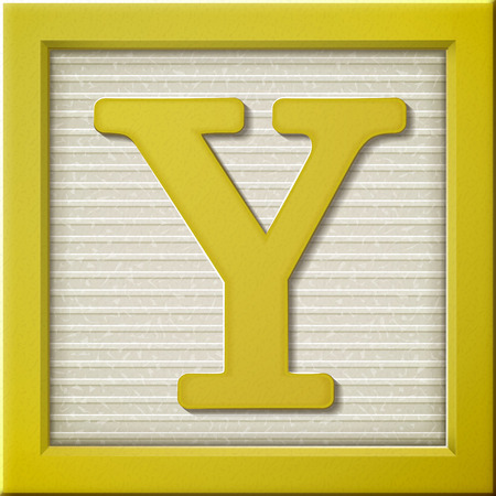 yellow block: close up look at 3d yellow letter block Y Illustration