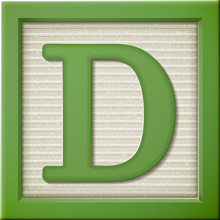 block letters: close up look at 3d green letter block D