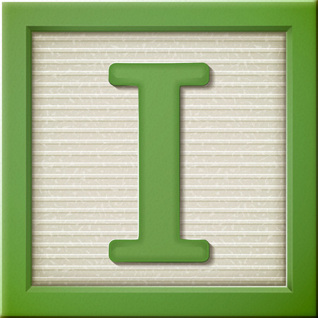 block letters: close up look at 3d green letter block I
