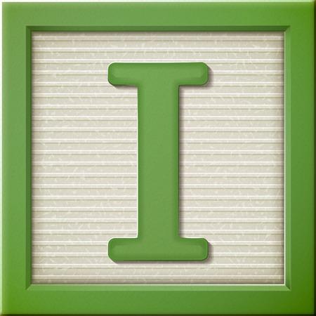Sluit omhoog kijken naar 3D groene letter blok I