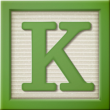 letter blocks: close up look at 3d green letter block K
