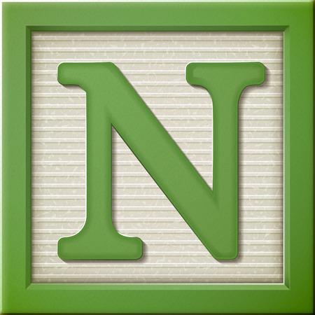 クローズ アップ 3 d の緑文字ブロック N を見て