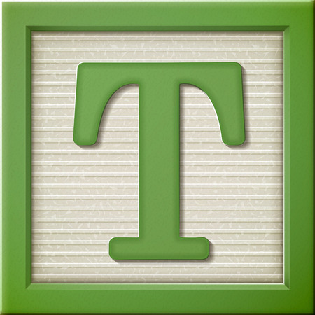 t square: close up look at 3d green letter block T Illustration