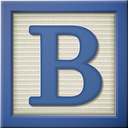 Close-up kijk naar 3d blauw letter blok B Stock Illustratie