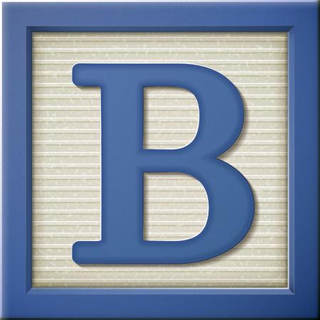 Fermer oeil à 3d lettre bleue bloc B Banque d'images - 38528365