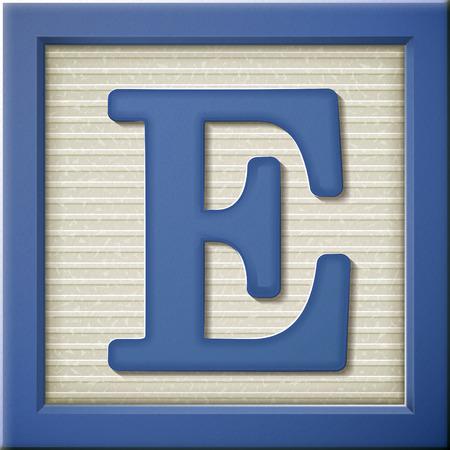 Sluit omhoog kijken naar 3D-blauwe brief blok E Stock Illustratie