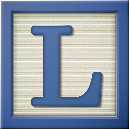 close up look at 3d blue letter block L