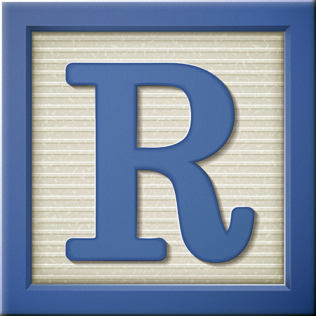 close up look at 3d blue letter block R