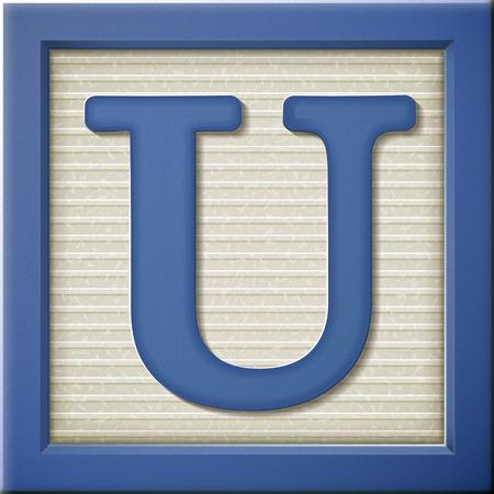 close up look at 3d blue letter block U