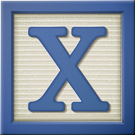 x games: close up look at 3d blue letter block X Illustration