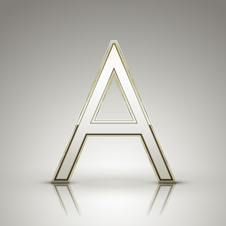 with pearl: 3d elegant pearl white alphabet A isolated on grey background