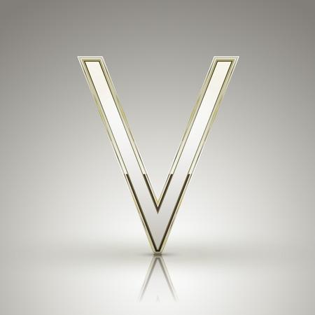 v alphabet: 3d elegant pearl white alphabet V isolated on grey background