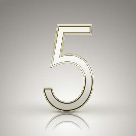 number 5: 3d elegant pearl white number 5 isolated on grey background Illustration