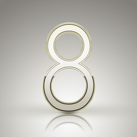 number 8: 3d elegant pearl white number 8 isolated on grey background Illustration