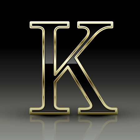 letter k: 3d metallic black letter K isolated on black background