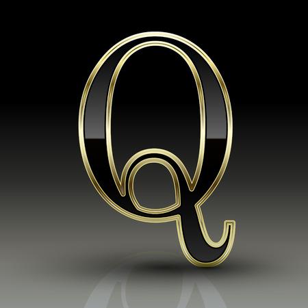 letter q: 3d metallic black letter Q isolated on black background