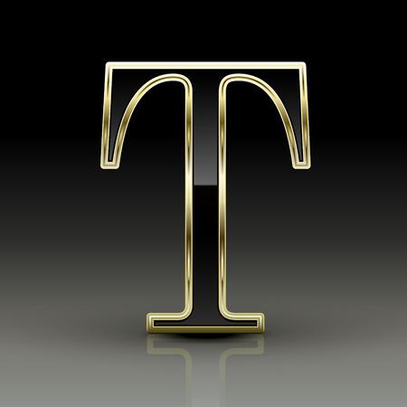 t background: 3d metallic black letter T isolated on black background Illustration