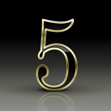 number 5: 3d metallic black number 5 isolated on black background