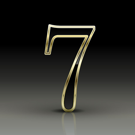 number 7: 3d metallic black number 7 isolated on black background